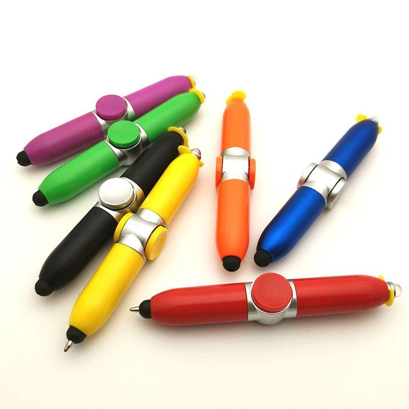 عيد الميلاد التخلي عن قلم اللمس اليد سبينر القلم الإبداعية LED بكبسة زر الدوران الكرة نقطة الكرة قلم حبر جاف للأطفال تخفيف الضغط لعبة الهدايا