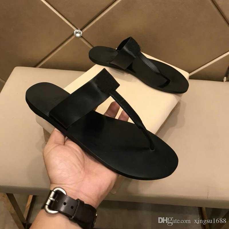 2019 Nuovi sandali con diapositive estivi in vera pelle di lusso di design infradito sandali da uomo in metallo con pantofole di design con scatola da 38-44
