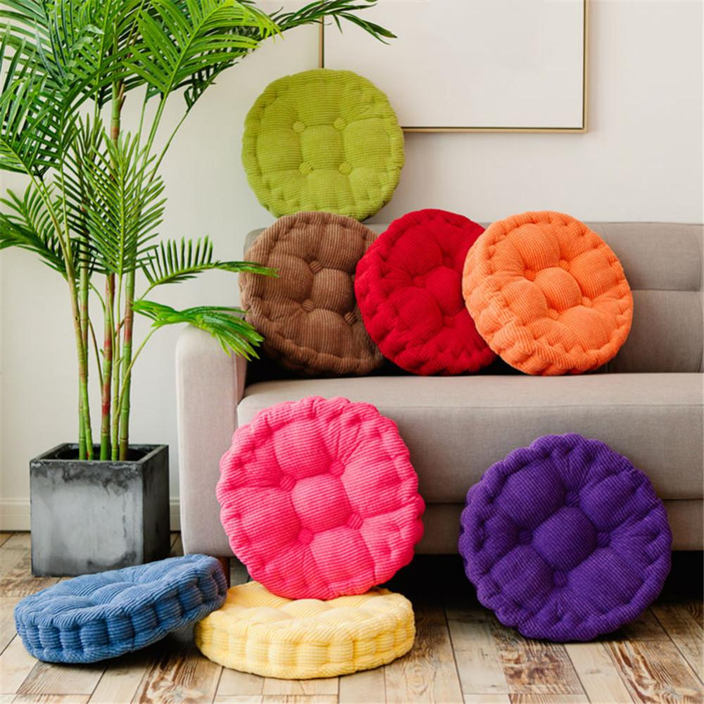 Home Office Decor Comfortable Cotton Seat Cushion Office Chair Pad Thick Solid Color Round Corduroy Mat Fat Pad