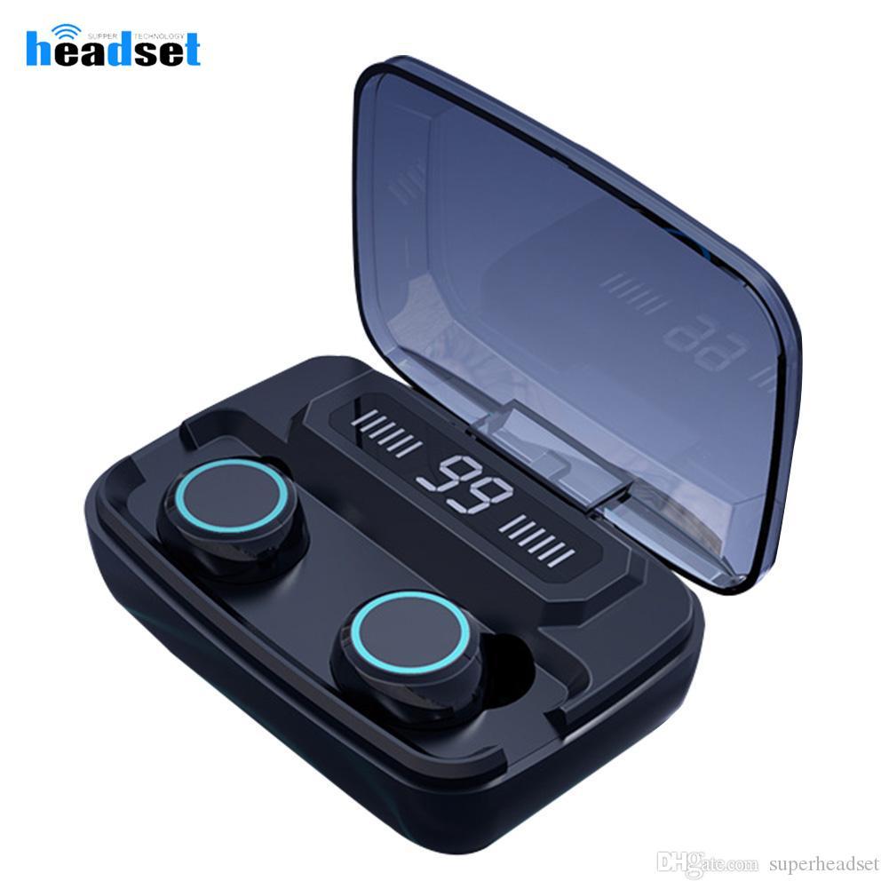 M11 Bluetooth V5.0 Индикатор питания Дисплей уха телефон TWS Правда Беспроводные наушники Сенсорное управление стерео наушники Спорт 3300mAh В Ear наушники