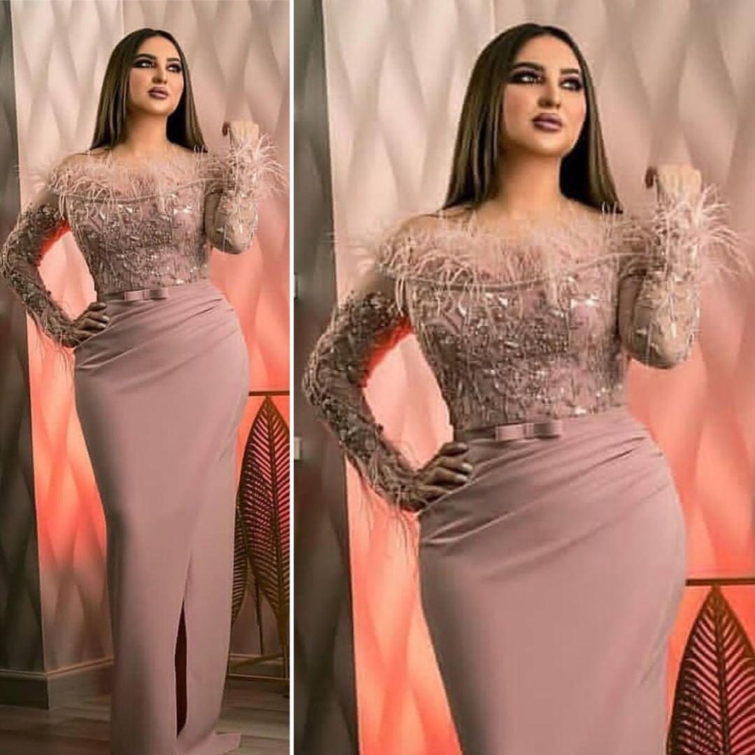Асо Ebi 2020 Arabic Blush Pink Sexy Вечерние платья Шнурок бисером платья выпускного вечера оболочки Формальное партия Второй прием мантий ZJ511