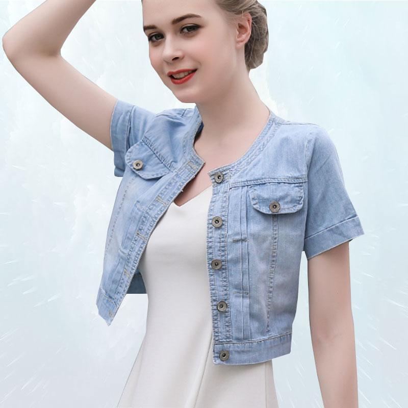 Frauenjacken Sommer Denim Jacke Frauen 2021 Kurzärmelige Kleine Schal Mode Thin Jeans Weibliche Outwear Casaco Feminino SL019