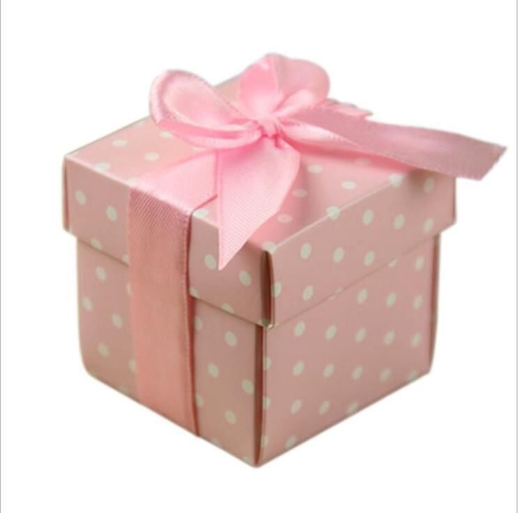2 pouces bricolage Dotted rose bleu Encadrés Favor avec RUBAN et couvercle Pop Up Coffrets cadeaux Boîtes Cube Candy