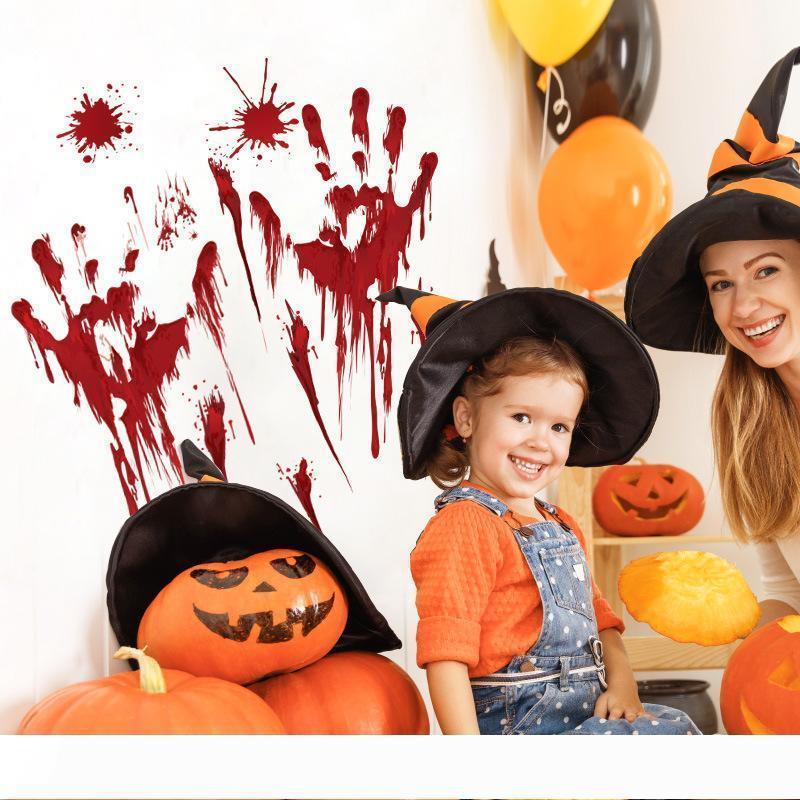 Bir Cadılar Bayramı Korku etiket Kan parmak izi ayak izi kabak paster parti dekor Süs Mark duvar pencere kapı için