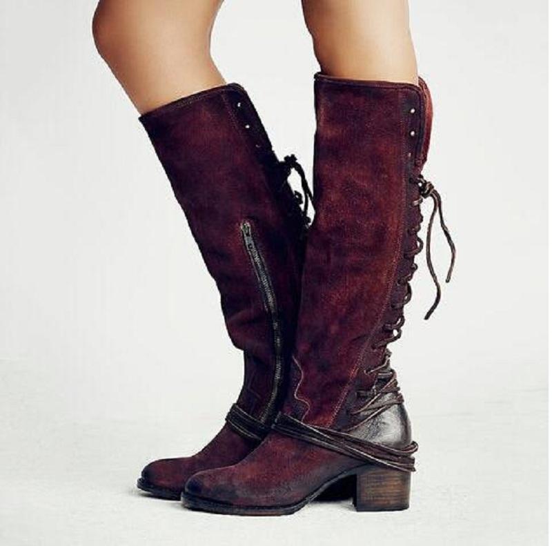 Botas mujer inverno mulheres joelho botas de alta rebanho de couro de salto alto lace up sapatos sexy cross amarrado botas longas chaussures femme