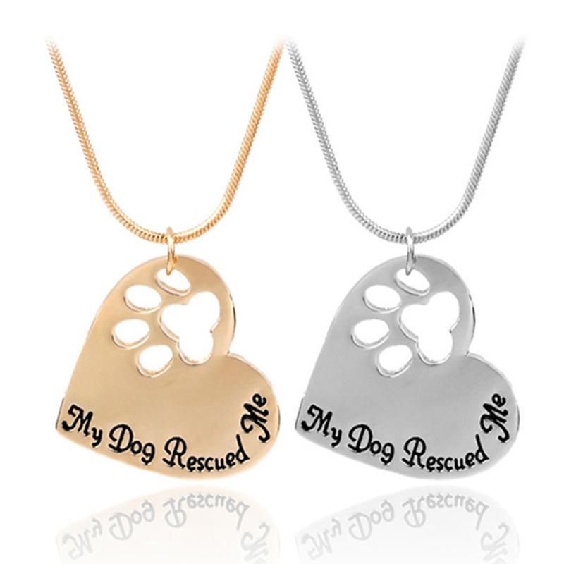 Pet Memorial Jewelry Il mio cane salvato Me incisione Pet Paw Print Pet Lover a forma di cuore incanta il pendente della collana di animali Keepsake EHN58 all'ingrosso