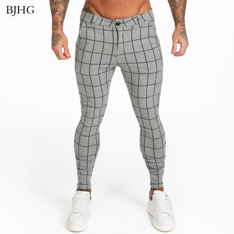 Erkek Pantolon BJHG Mens Chinos Gri Ekose 2021 Sıska Fit Yüksek Bel Elastik Sıkı Pantolon