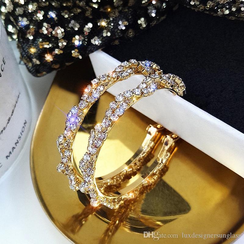 Aşk Girlfriend için Yapay elmas Hoop Küpe Basit Stil Kadınlar Yapay elmas Küpe Moda Takı Aksesuar Hediye Bling Bling