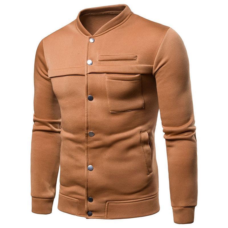 2019 classiche da uomo collare del basamento del cappotto con cappuccio alla moda Slim Fit Tinta unita a manica lunga Nero Navy Blu Grigio Jackets