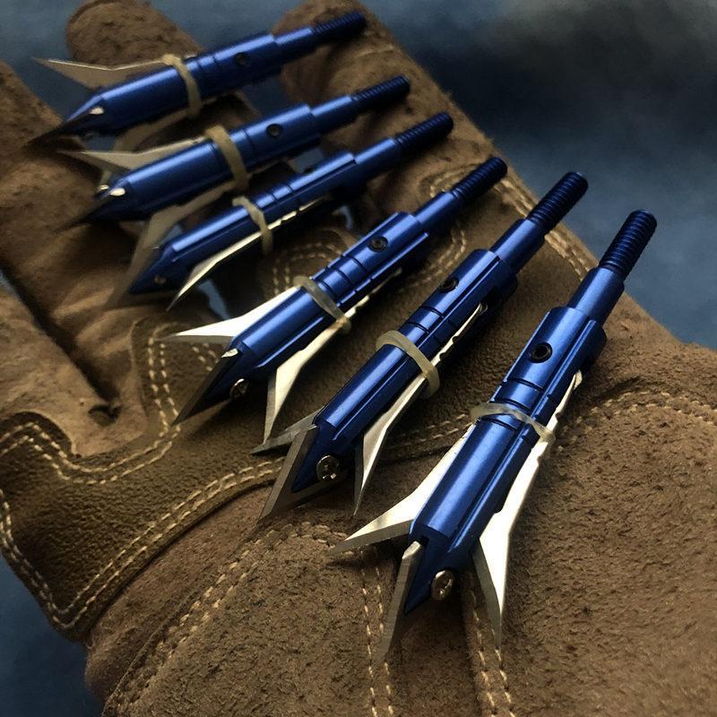 블루 6PCS 양궁 화살표 팁 Broadheads 화살촉 화합물 곡궁 사냥 화살촉 Broadheads 팁 화살표 양궁 점 A 포인트