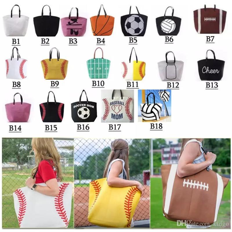 18 Arten Tasche Baseball-Taschen-Sporttaschen Softball-Tasche Fußball-Fußball-Basketball-Baumwollsegeltuch-Einkaufstasche T0154