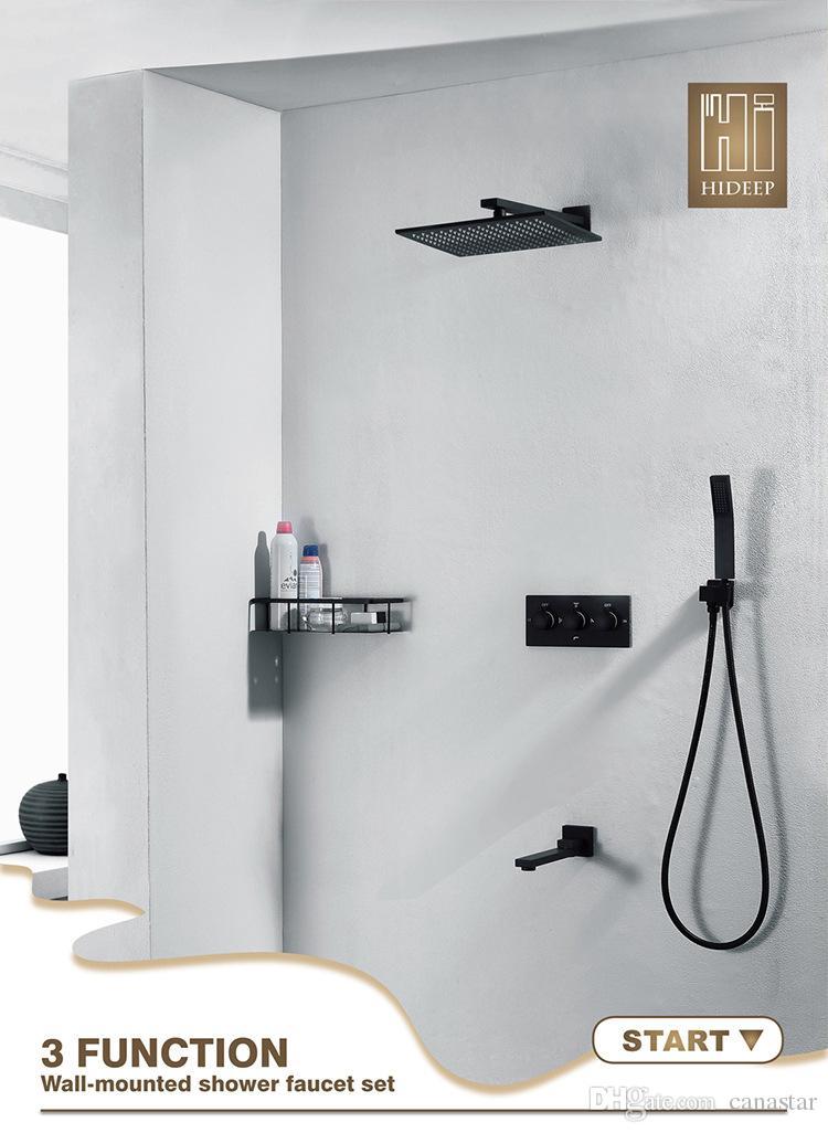 "Bathroom Black Shower System 10"" Rain Shower Set Luxury Square Shower Head Panel Bath Kit Hot Cold 3 Way Mixer"