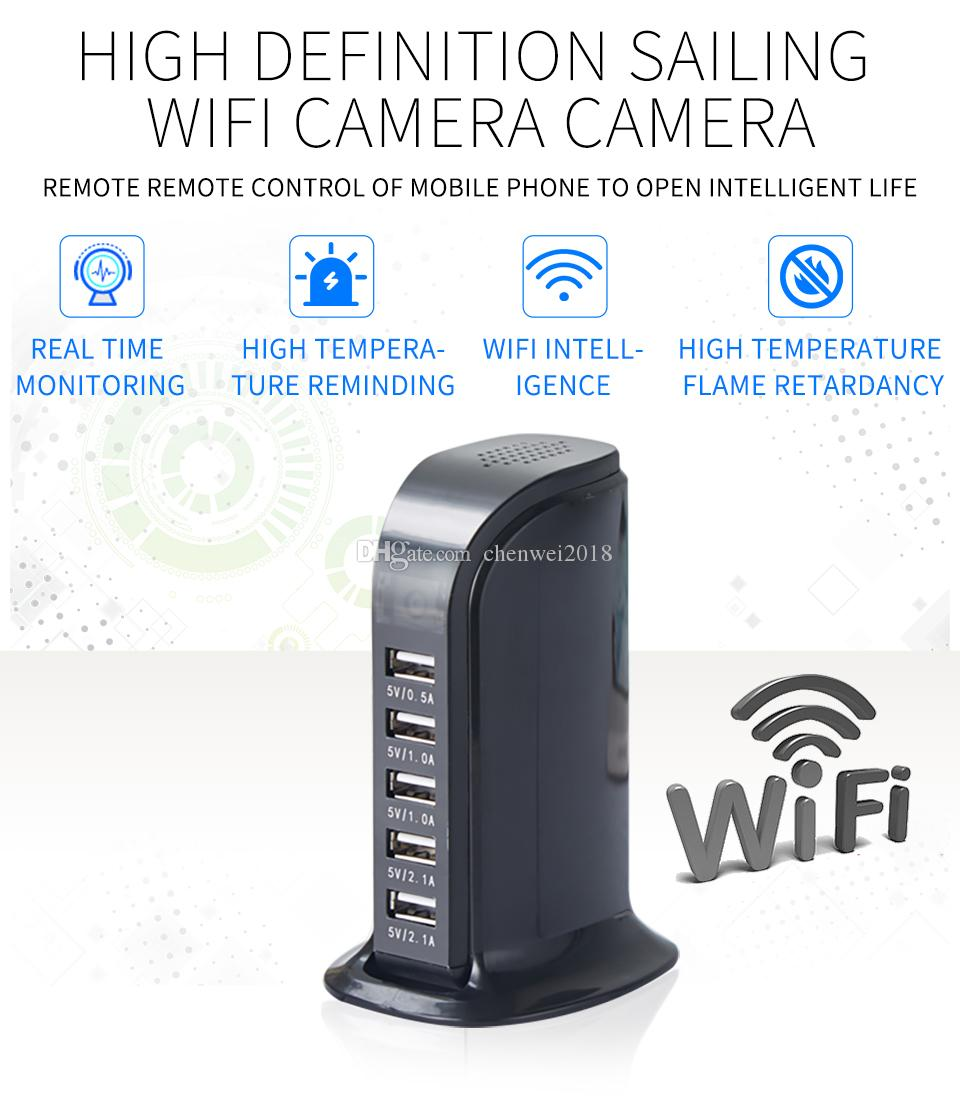 HD WIFI USB Charging Station camera 1080P 5-USB Port Plug Charger Cameras Wif remote monitoring Home security camera