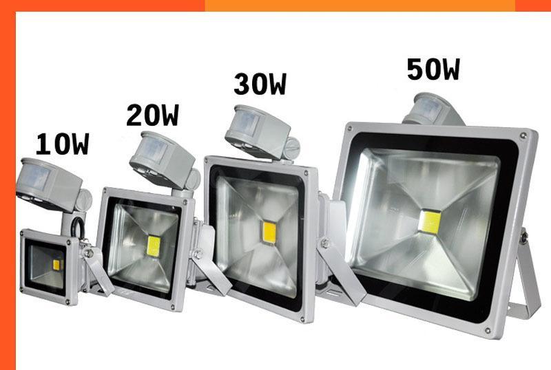 20 unid / lote PIR Sensor de Movimiento Infrarrojo Led Reflector 110-265V 10W 20W 30W 50W Impermeable IP65 Para Proyector de jardín Luz al aire libre