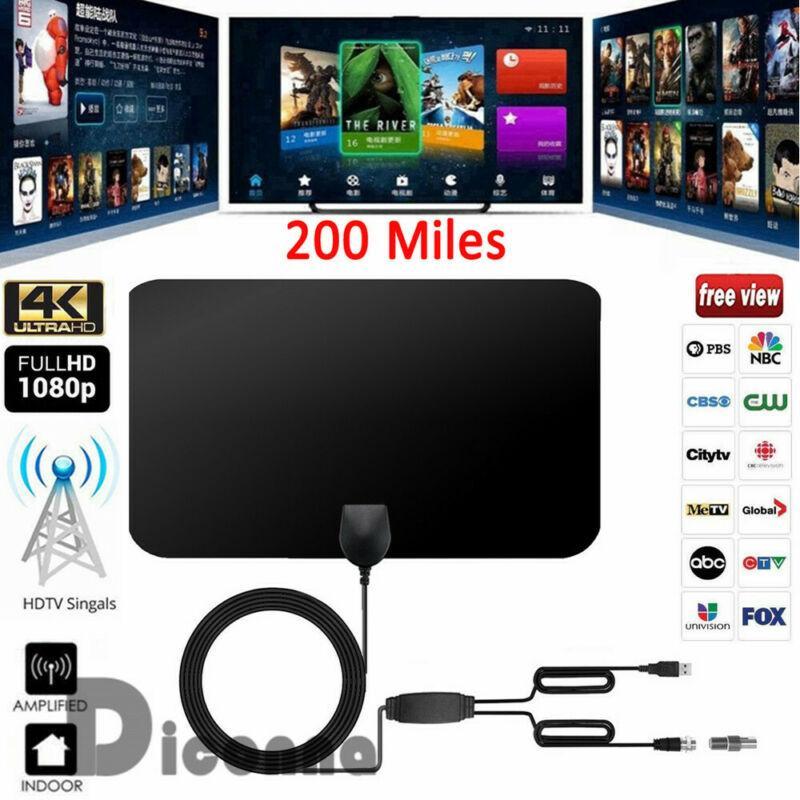 200 ميل المدى هوائي التلفزيون الرقمي HD Skywire انتينا HDTV الرقمية 1080P داخلي 4K المدى 25DB لVHF UHF التلفزيون استقبال الإشارات