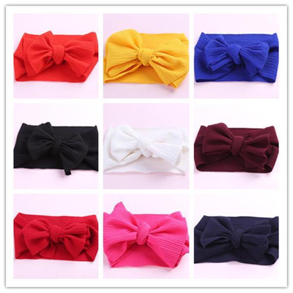 gran lazo recién nacido vendas elásticos del Bowknot cabritos Hairbands headwear tocado bandas de cabeza del recién nacido la cabeza del turbante Wraps WY552Q