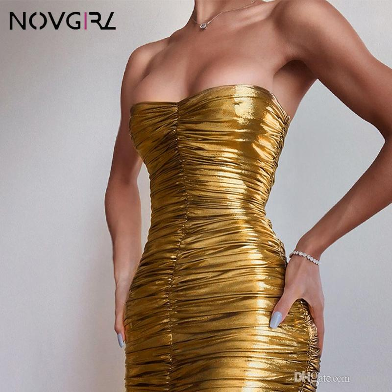 Novgirl Seksi Kapalı Omuz Altın Seksi Elbise Kadınlar Kolsuz Dantelli BODYCON Midi Elbise Sparkle Glitter Kulübü Partisi Elbise vestidos