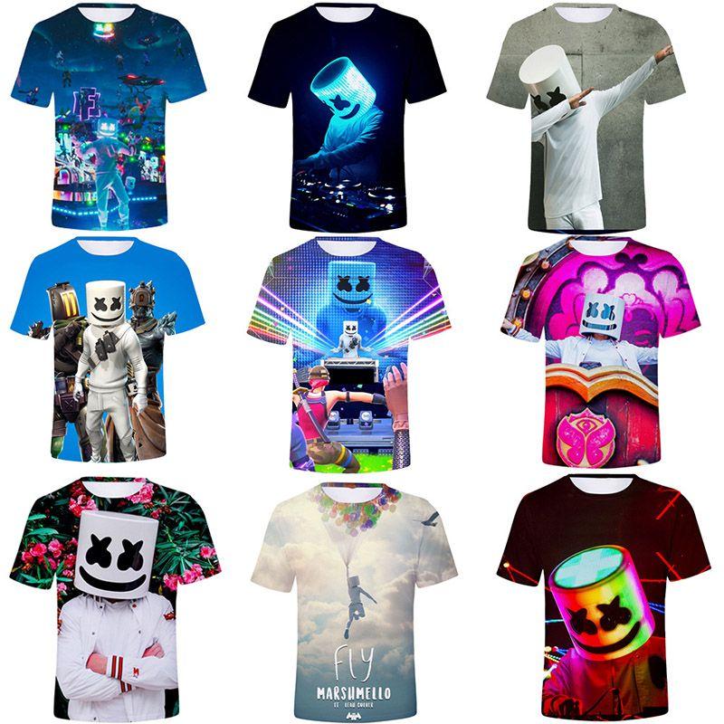 UK Kids Marshmello T-shirt DJ Mask Music Short Sleeve 3D Printing Tops Tee Party