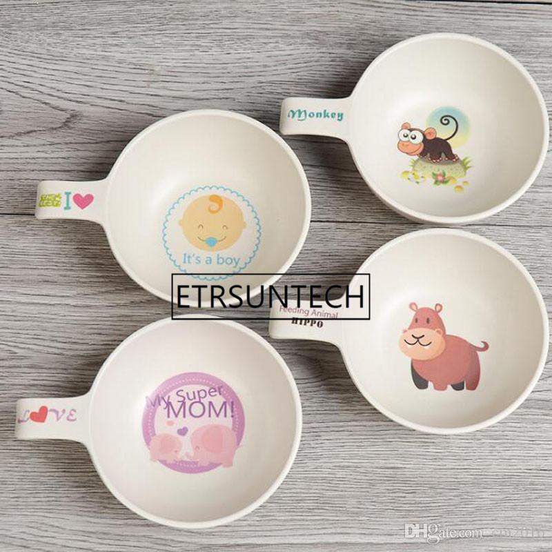 wholesale 50pcs Natural Bamboo Fiber Bowls Cute Cartoon Dishes Baby Feeding Tableware Children Infant Portable Bowl