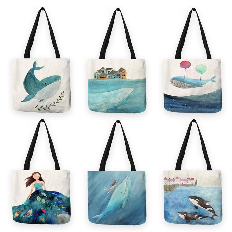 B13019 fresca sveglia della pittura Whale Sea Serie shopper borse delle donne grandi Totes di capacità