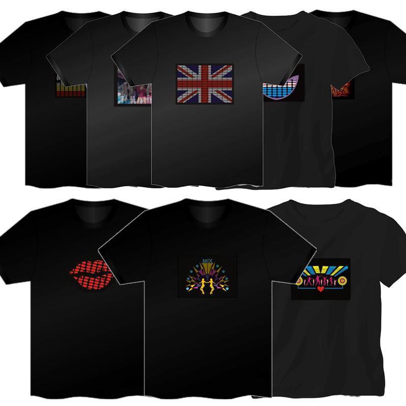2019 nuevo LOGO Sound Activado LED T Shirt Light Up intermitente ecualizador EL LED T Shirt Hombres para Rock Disco Party DJ camiseta envío rápido gratis