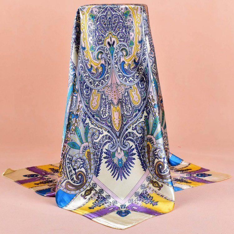 Rayon Lenço de seda Moda Foulard cetim Xaile Cachecóis Big Size 90 * 90 centímetros de seda Praça Cabelo / Chefe Lenços Mulheres bandana