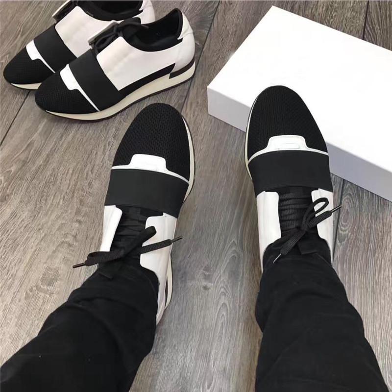 2017 новый бренд ню черный гонки Бегун обувь мужчины женщины дизайнер оранжевый полоса зашнуровать лоскутное кожа сетки кроссовки Повседневная обувь