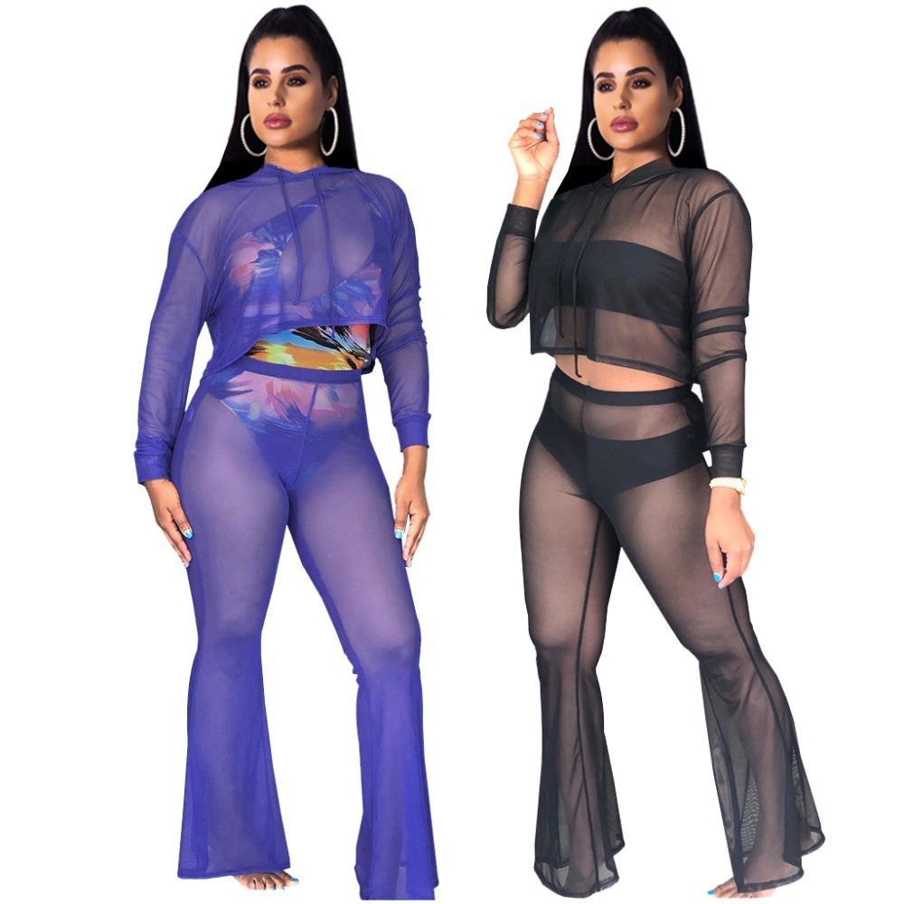 Seksi iki parçalı set üst ve pantolon rahat kıyafetler eşofman kadın kapşonlu mesh İnce katı topluluk femme dos piezas see through