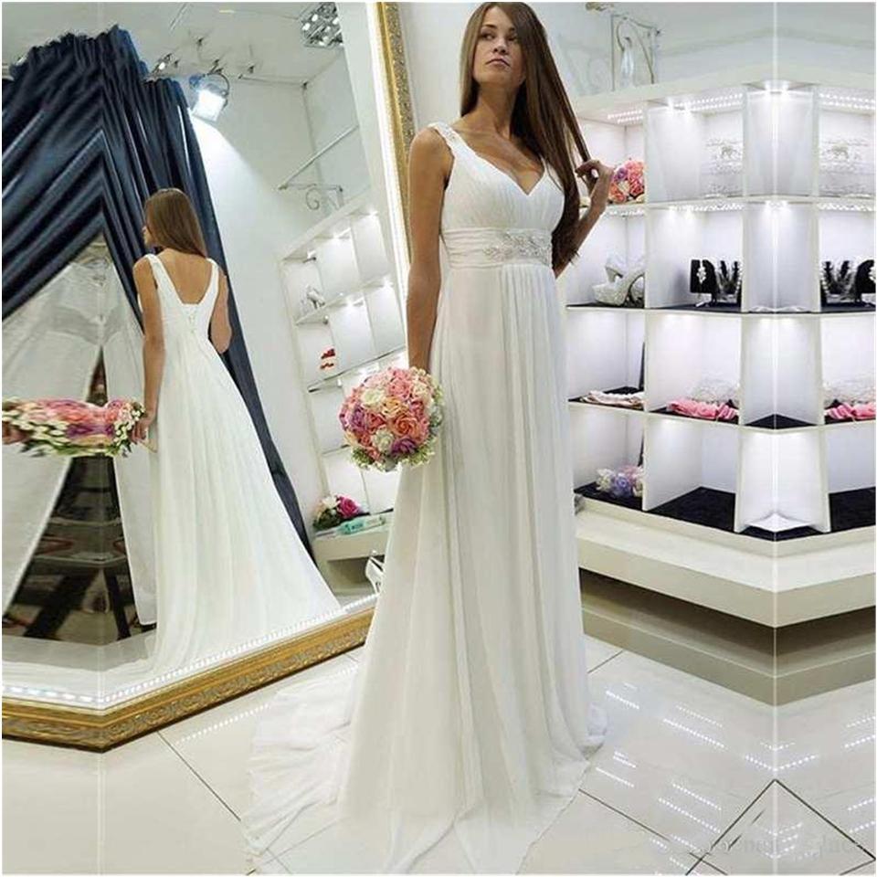 2020 Elegant Straps V Neck Chiffon Beach Wedding Dress Bridal Gown robe mariee Vestidos De Noiva robe de mariée