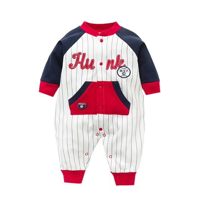 2019 Baby-Jungen-Kleidung Langarm-weiche Baumwollbabyspielanzug Karikatur druckte Babykleidung für Jungen Mädchen Overall Y200320