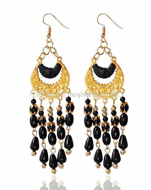 Livraison gratuite en Europe et aux États-Unis personnalité populaire couleur Bohemia pendentif boucles d'oreilles mode classique élégant
