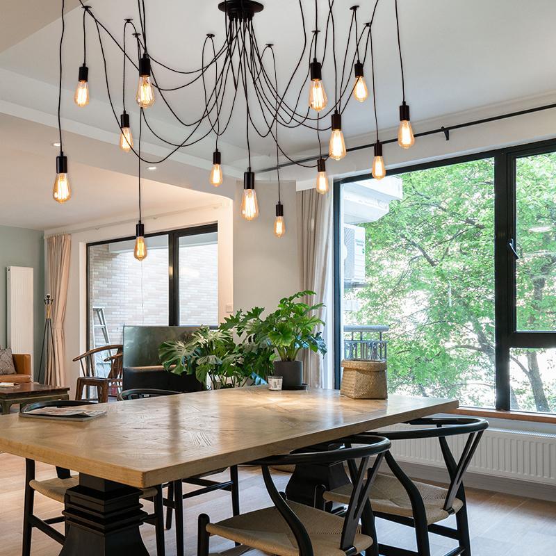 Modern big Spider Industrial Ceramic lampholder black vintage pendant Lamp Loft led 14 Lights E27 pendant lights for living room