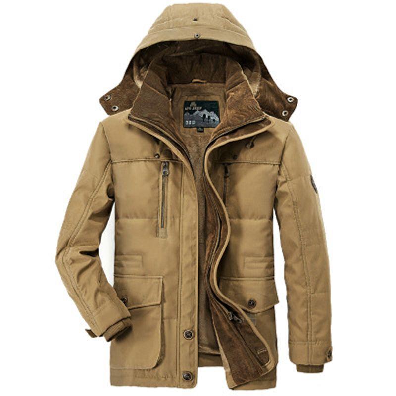 XingDeng Outwear Windbreaker Warme Reißverschlusstasche Jacken Herrenmode Mäntel Herren Parka Masculino Militar Jacke