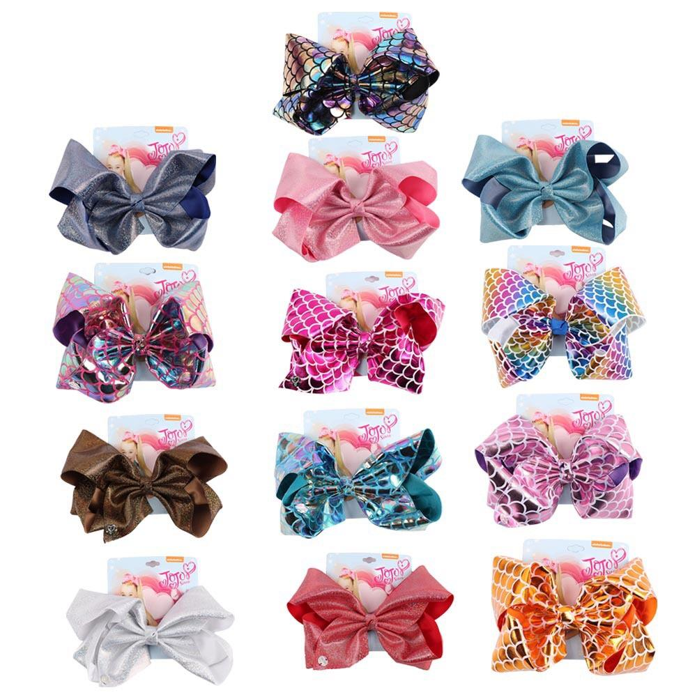 """8"""" Jojo Girl Hair Clip gradual change Mermaid Fish scales leather printed Large Hair Bow Clip Handmade Hair Accessories Gifts For Girls"""