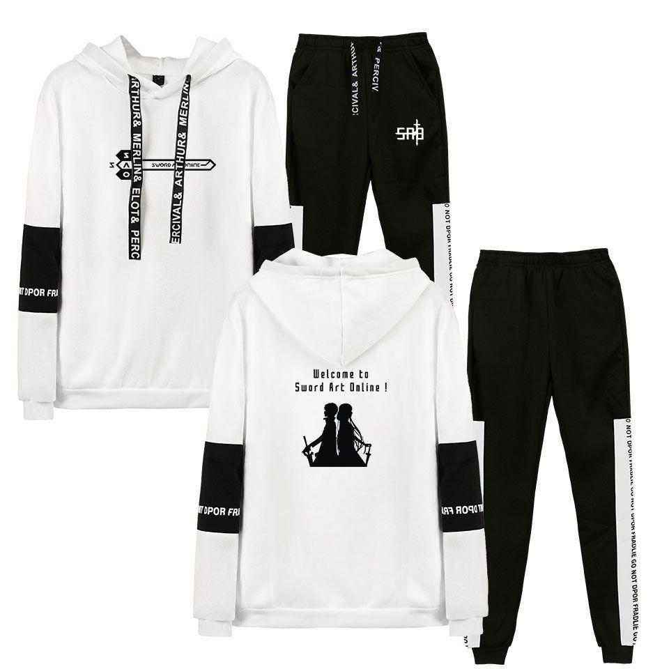Homens Sweat Suit Set 2020 Suits Sword Art Online moletom com capuz Sporting Fatos duas partes de homens Hoodies + calças 2pcs Sets