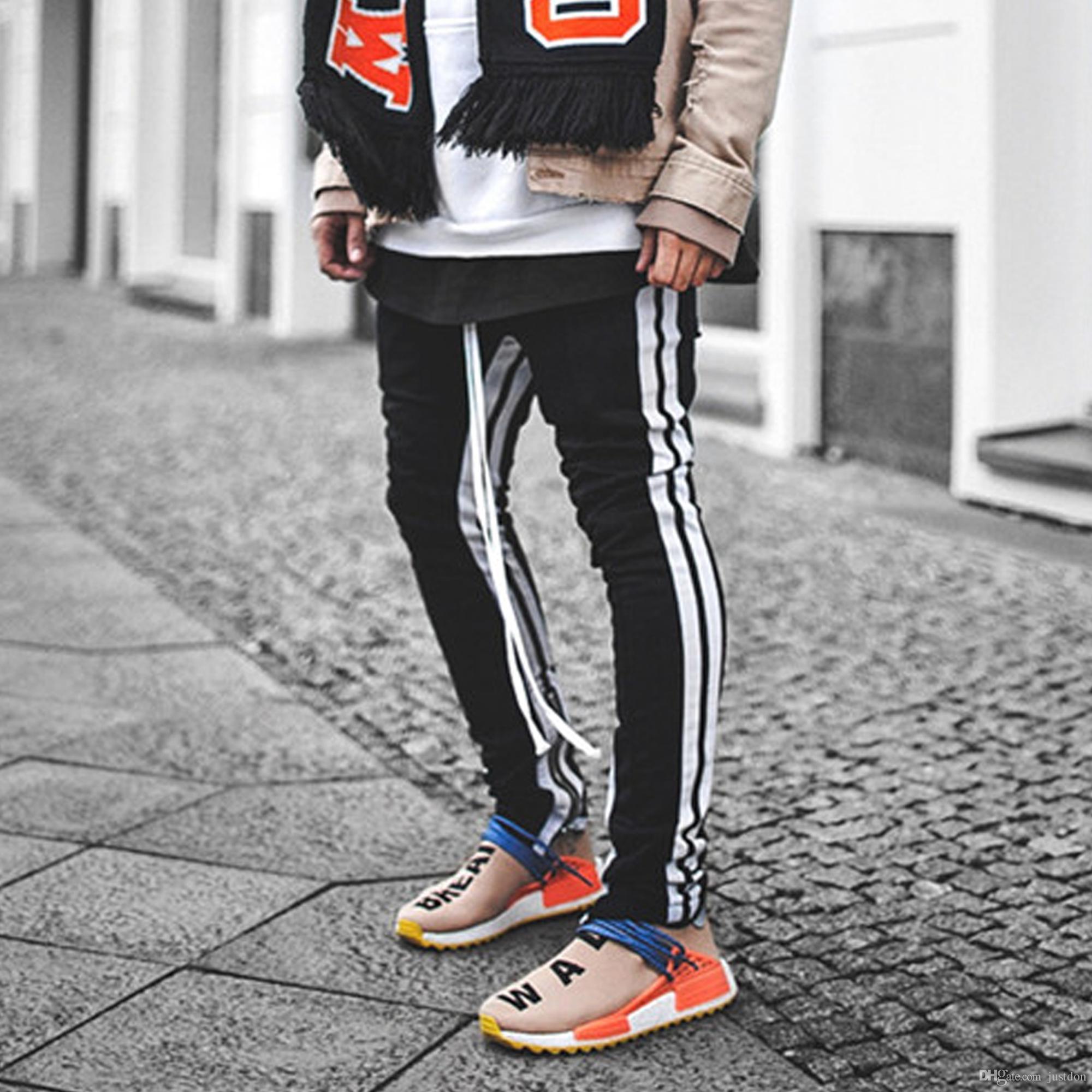 Pantalon de jogging coupe slim à rayures sur les rails pour hommes Just Don pour hommes