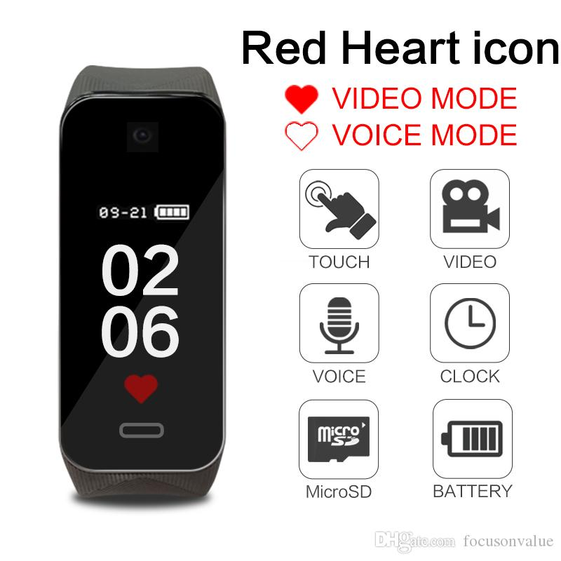 Full HD 1080P Smart Wristband video camera portable health Bracelet Camera digital voice Video recorder with Touch switch screen