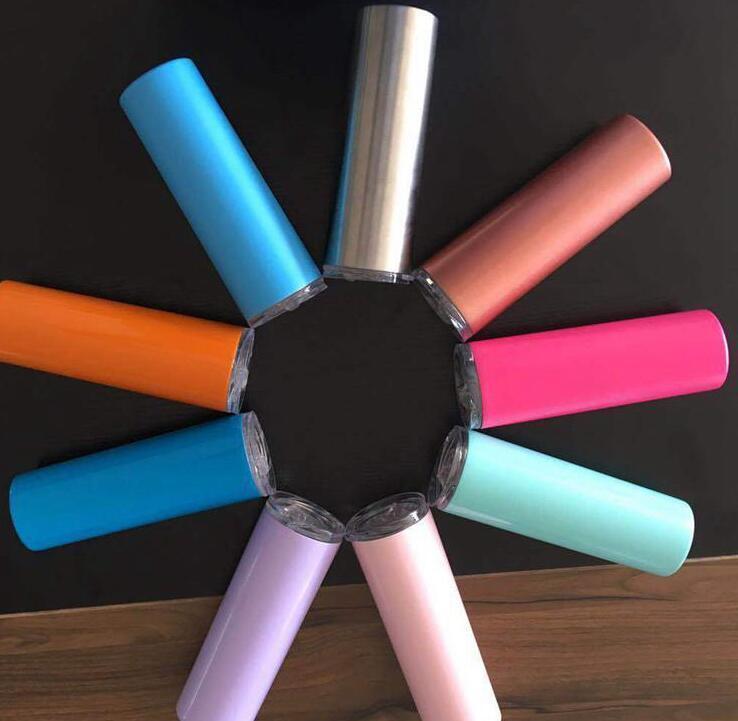 ljjk2018 مع غطاء نحيل القهوة معزول مزدوج الجدار الفولاذ المقاوم للصدأ 20 أوقية للسفر زجاجة النبيذ الزجاج فراغ القش رقيقة بهلوان