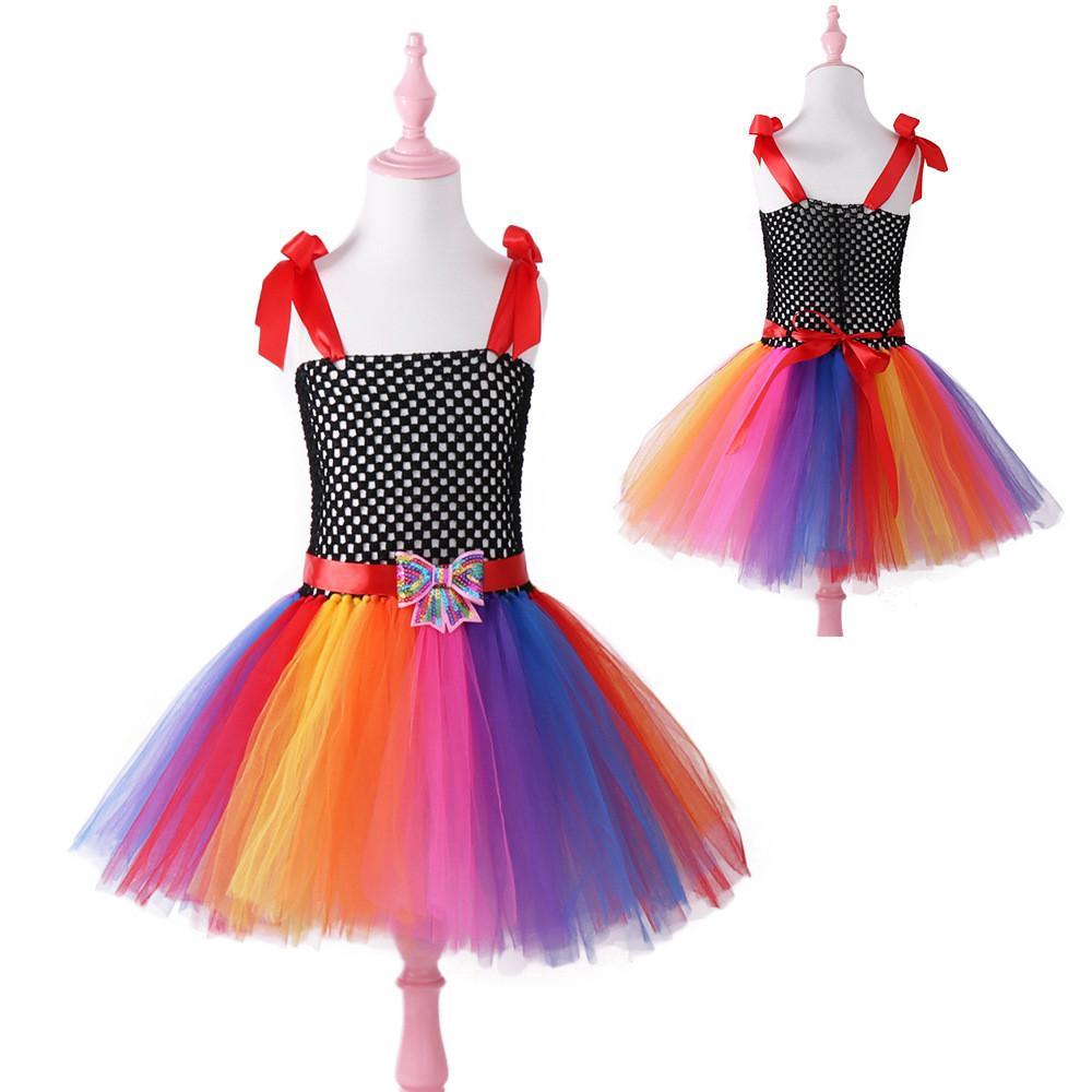 Cosplay children girl color butterfly dress rainbow skirt fluffy flower fairy princess dress birthday party Christmas costume