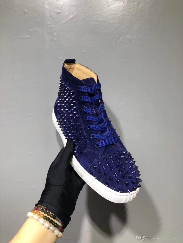 Com Box Marca parte inferior vermelha calça as sapatilhas Mens completa Spikes + High Top Azul Suede couro Casual Shoes Orlato Handmade Pik Rebites Trainers