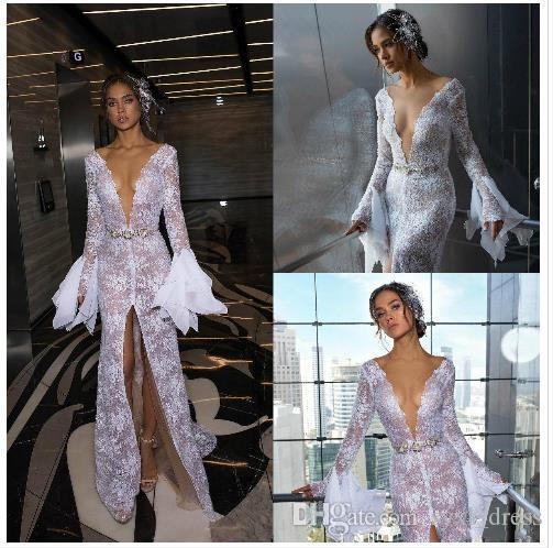 Плюс размер русалки свадебные платья свадебные платья 2019 Robe De Mariee с длинным рукавом V-образным вырезом Полное кружевное свадебное платье Boho