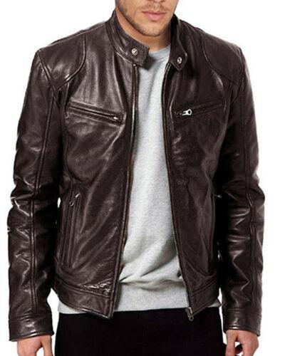 الرجال حقيقية من جلد الخراف سترة جلدية سوداء BROWN 2020 الموضة في شتاء الرجل الدافئة صالح سليم سحاب راكب الدراجة النارية سترة معطف Streewear