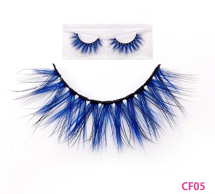 16 5D de style coloré Vison couleur gradient cheveux Faux cils vison cheveux épais faux cils faux cils de prolongement naturel de 20 ensembles