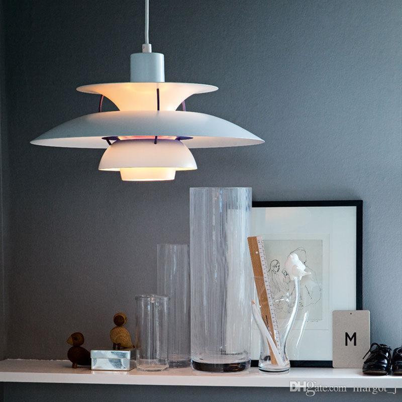 Modern Lamp Dinamarca Louis Poulsen PH5 luminária Bedroom Lamp Branco Preto de suspensão Suspensão Luz Droplight estar Sala de jantar