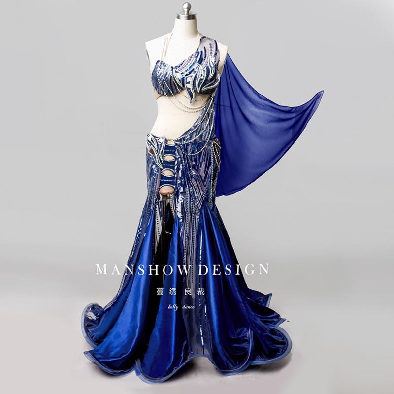 2019 nuevo traje de danza del vientre traje sexy para mujer bordado de lentejuelas de gama alta personalizado Competición / Performance traje de mujer