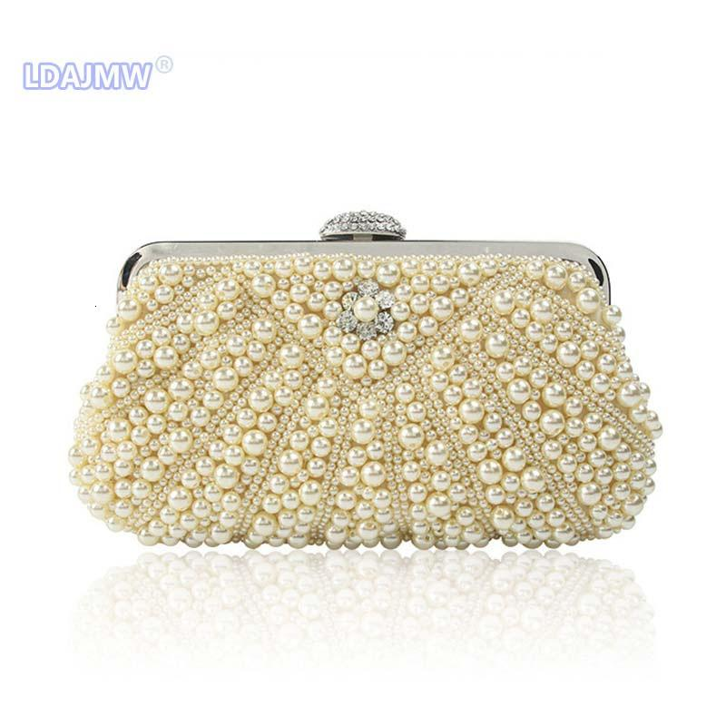 Las mujeres con cuentas de mensajería mujeres bolsas de cosecha bolsa bolsos de noche de perlas de imitación de concha bolsa de hombro diamantes bolsa de embrague para la boda