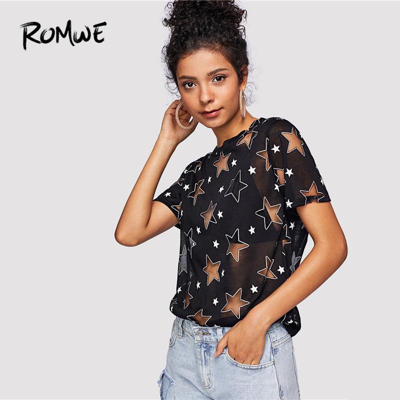 Romwe Sheer Star Motif Tee Posh D'été Noir À Manches Courtes Femmes Vêtements Graphique T-shirt Casual Col Rond Tops Q190522