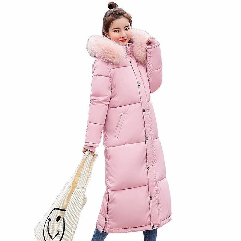 Bas Coton Manteau d'hiver en fourrure à capuchon épais Parkas femmes Long pain Vêtements grande taille Mode Veste Épaississement vêtement ls050