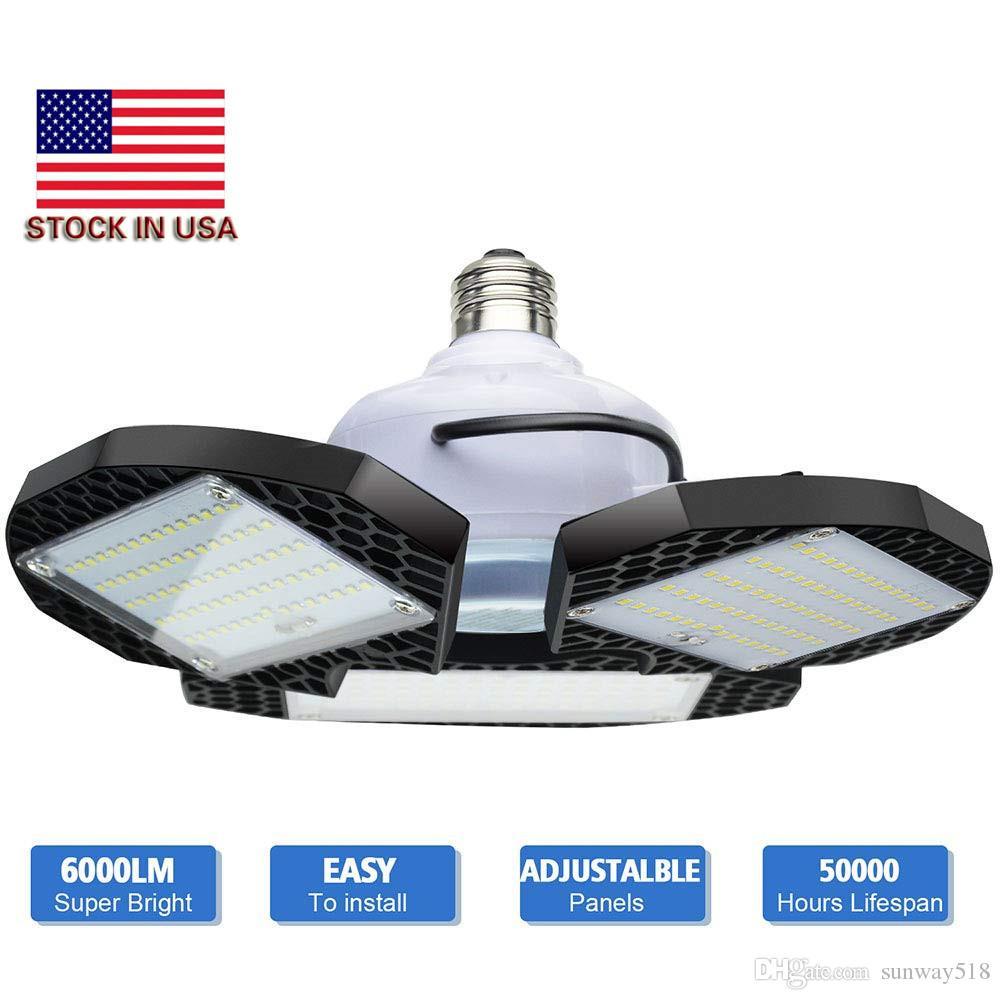 LED-Leuchten Garage deformierbare LED Garage Deckenleuchten 60W 80W CRI 80 LED High Bay Leuchte mit 3 Adjustable Panels