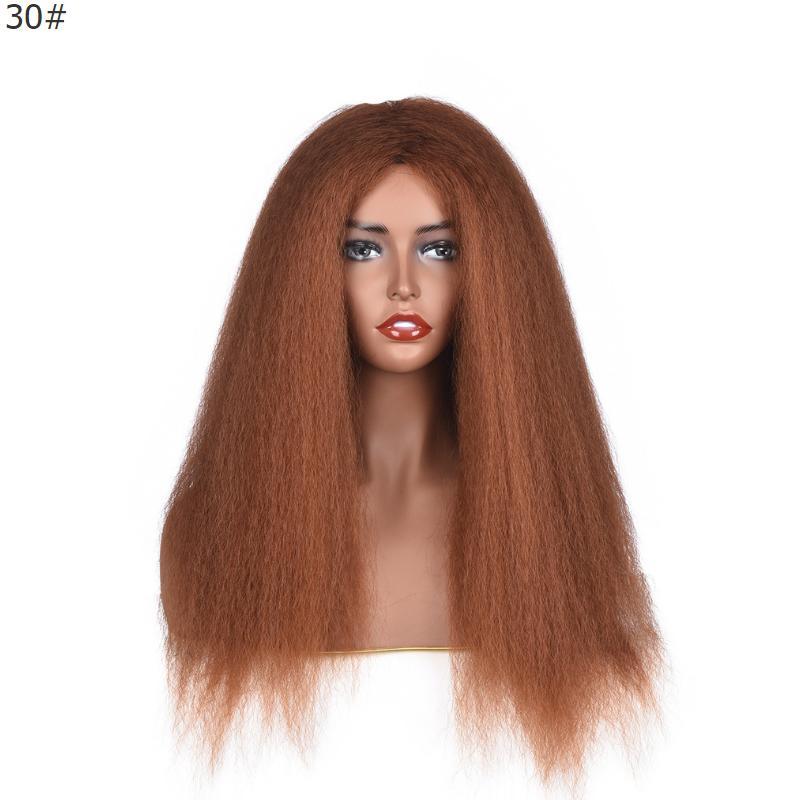 전체 밀도 변태 스트레이트 가발 Glueless 비 레이스 합성 머리 가발 24inch 가벼운 갈색 기계 여자를위한 야키 머리 가발 제작